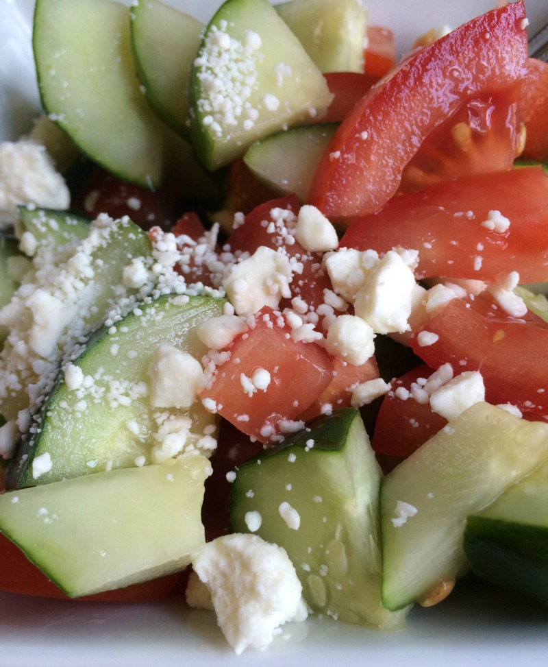 This Cucumber and Tomato Salad recipe with Feta makes a refreshing side dish on a hot summer day!
