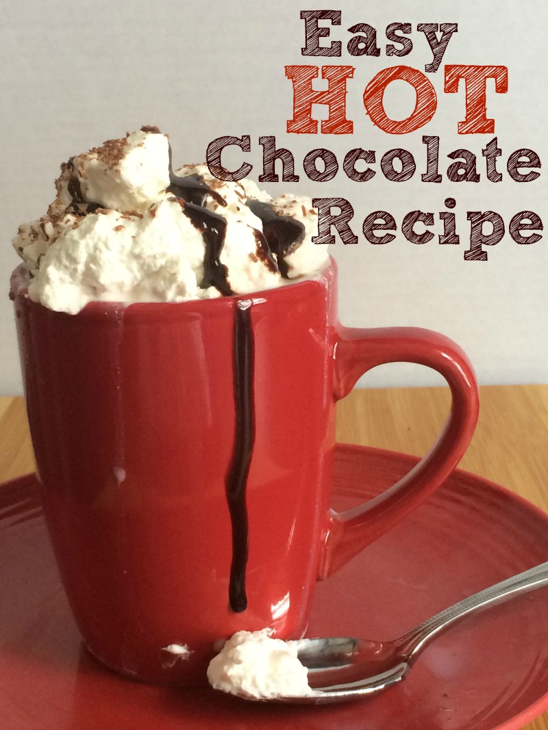 This EASY Hot Chocolate recipe is simple to make and with homemade whipped cream on top looks super fancy and special..it TASTES GREAT too!