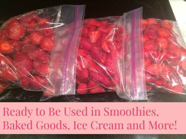 Once frozen and bagged you can use the strawberries all year long in smoothies, baked goods, ice cream and more.