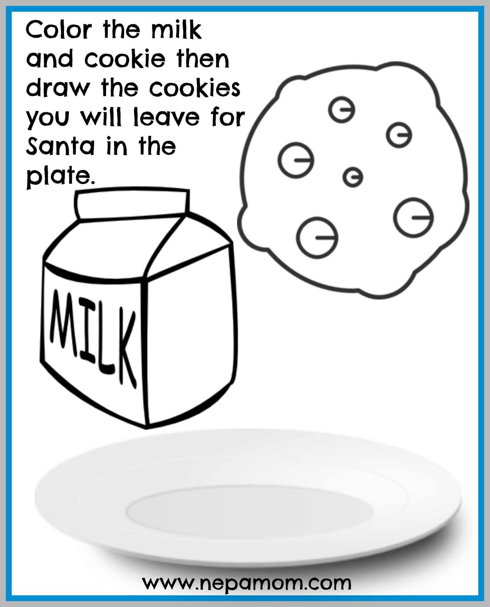 coloring sheetschristmas 2 milk and cookies