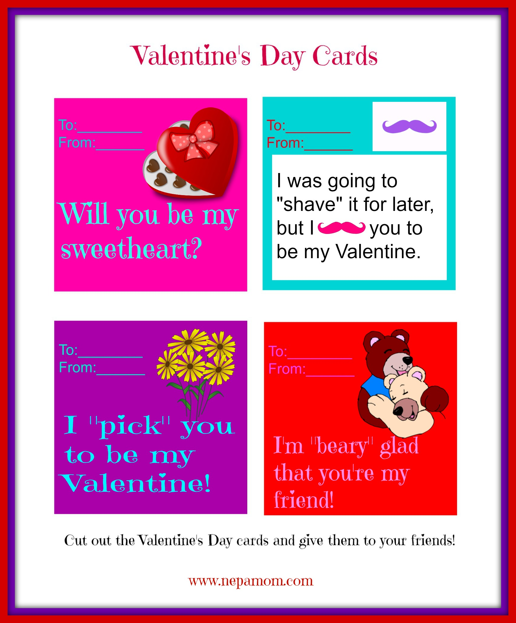 Printable Valentines Day Cards NEPA Mom – Valentines Card Print out