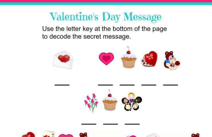 valentine 39 s day secret message worksheet nepa mom. Black Bedroom Furniture Sets. Home Design Ideas