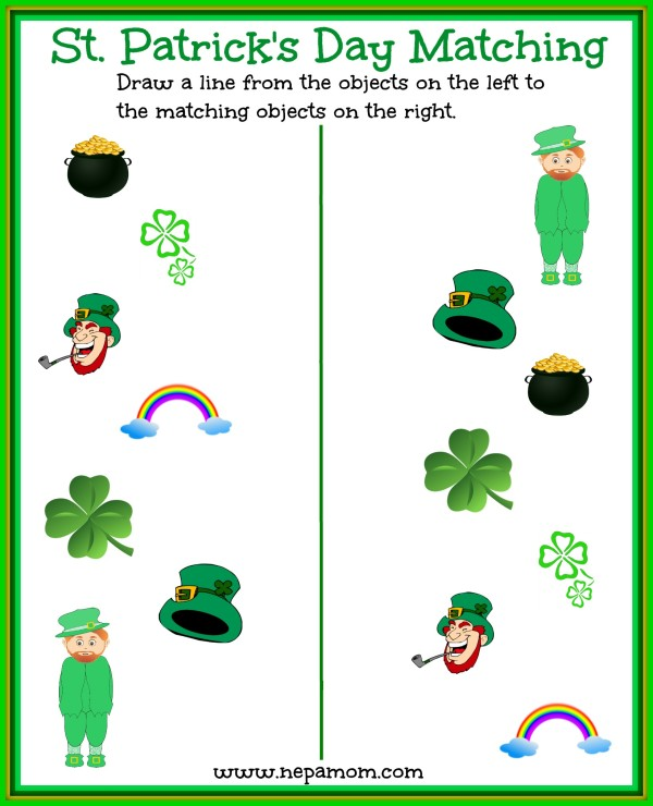 This St. Patrick's Matching Sheet is fun for your preschooler! Print one out today!