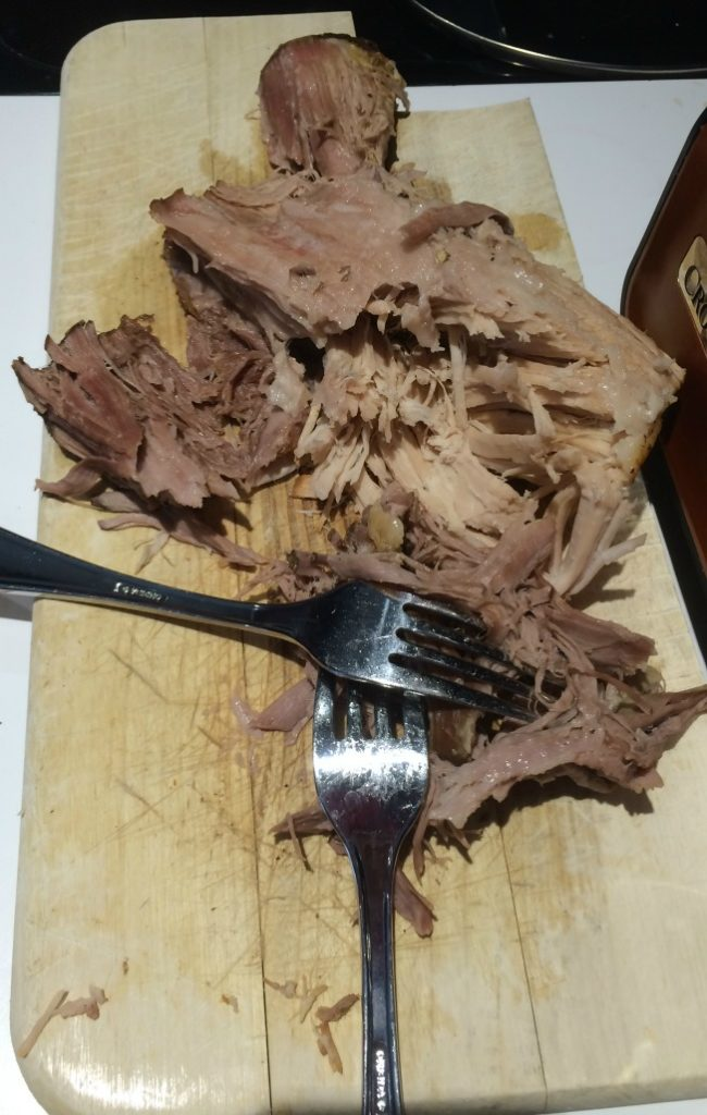 Shredded pulled pork--just pull the cooked pork apart with two forks #ProjectEnvolve #ad