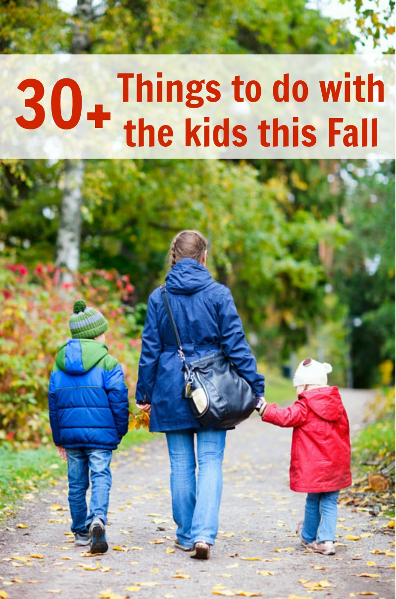 Fall Bucket List--30+ Things to do with the Kids this Fall! Carve a pumpkin, make an apple pie, visit a Cider Mill--what adventures on are your Fall Bucket List?
