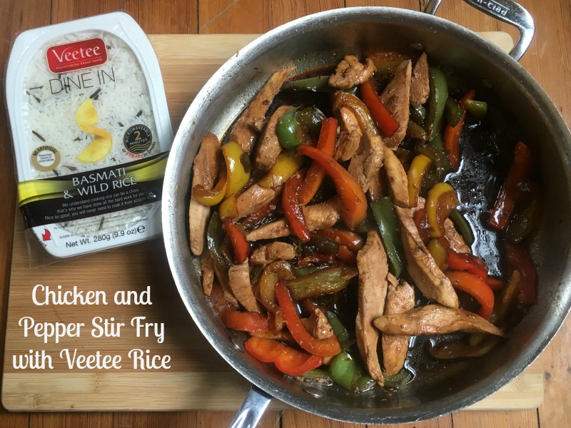Chicken and Pepper Stir Fry with Veetee Rice #ad #VeeteeDineIn