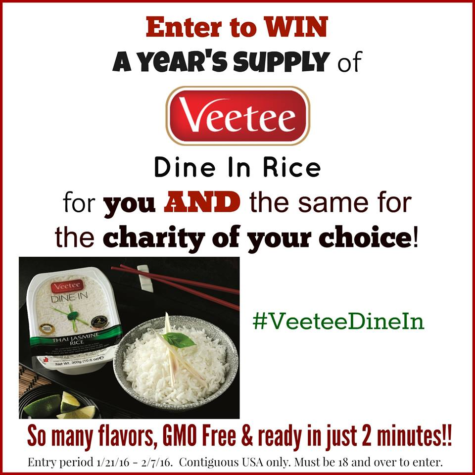Veetee Rice Giveaway--Win a year's supply of rice for you AND a charity of your choice!