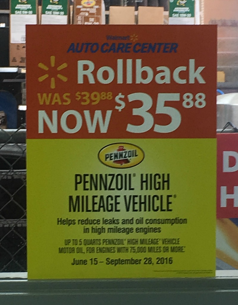 Pennzoil High Millage Vehicle is now on Rollback at Walmart #RoadTripOil