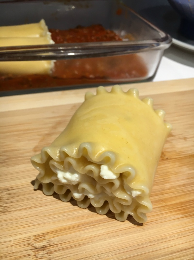 Roll up lasagna noodle with cheese inside #CampbellSavings