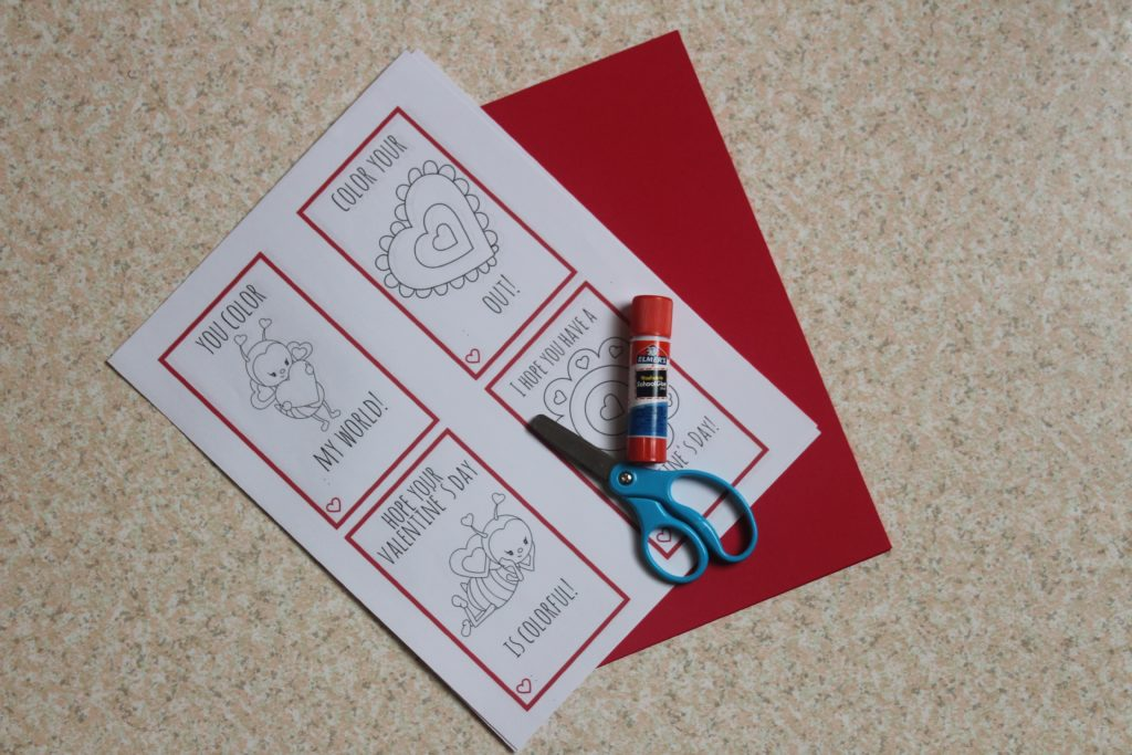 Print out these cute Color Your Own Valentine Printables #ad