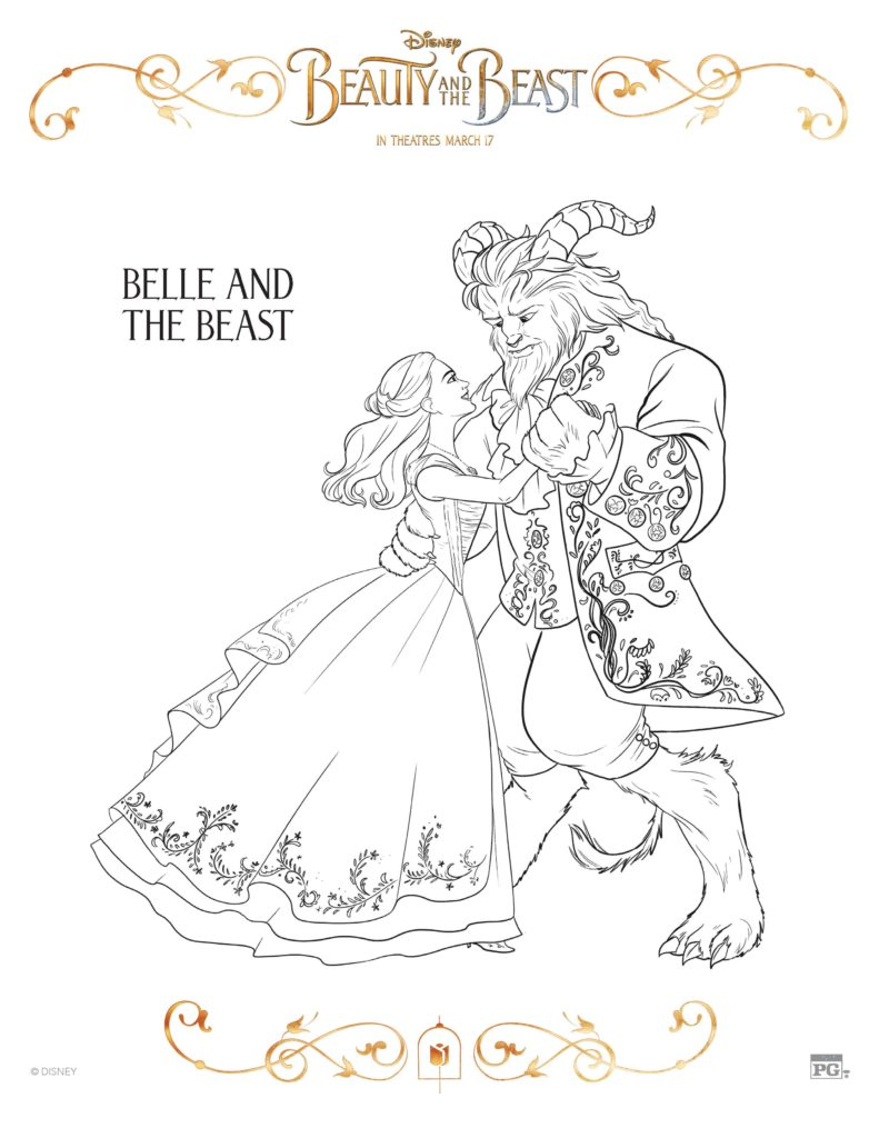 Belle and Beast Coloring Sheet from Beauty and the Beast