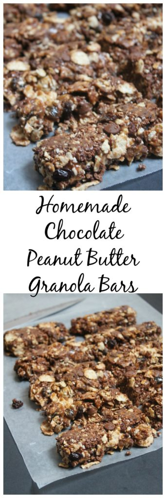 These Homemade Chocolate Peanut Butter Granola Bars are super simple to make and taste great! Your whole family will love this yummy snack any time of day!