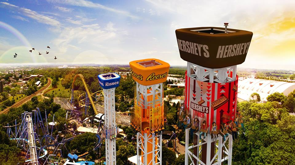 The Hershey Triple Tower is now open at Hersheypark! Chose your own level of thrill with this one of a kind attraction! #SweetestMoms #HersheyparkHappy #Hersheypa