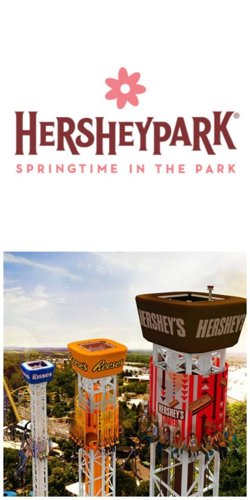 Springtime in the Park is now open at Hersheypark! Check out the new ride, the Hershey Triple Tower! #SweetestMoms #HersheyparkHappy #Hersheypa
