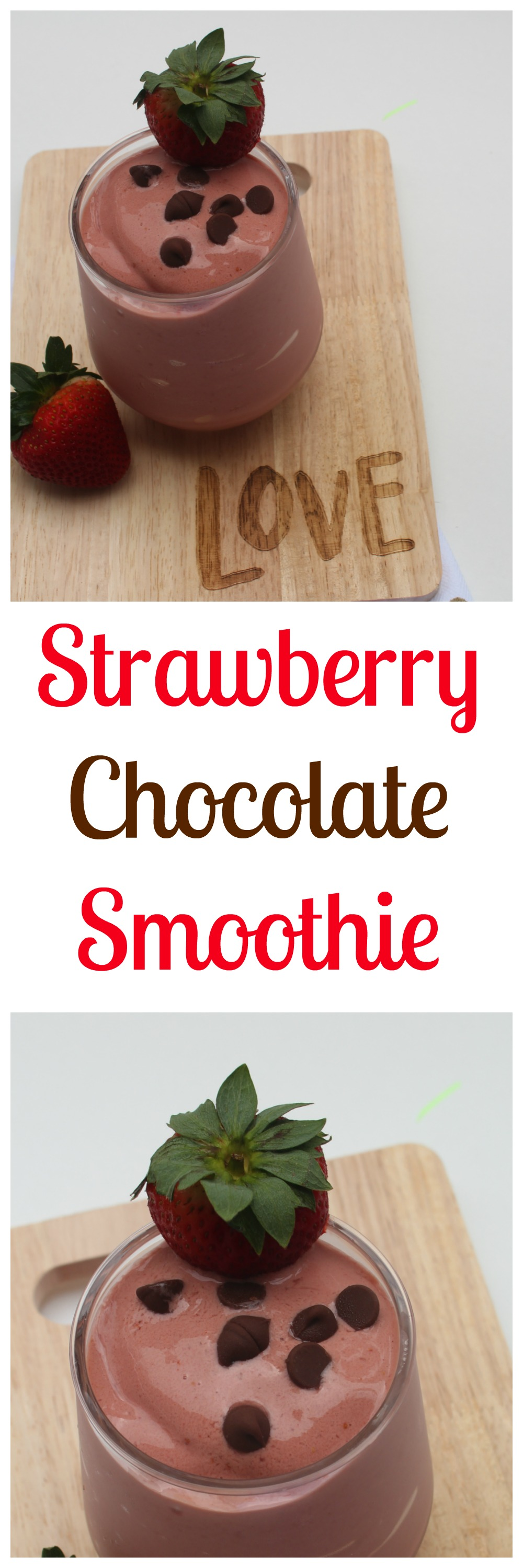 Strawberry Smoothie Recipes--These Strawberry Chocolate Smoothies are the perfect sweet and healthy treat on a hot summer day!