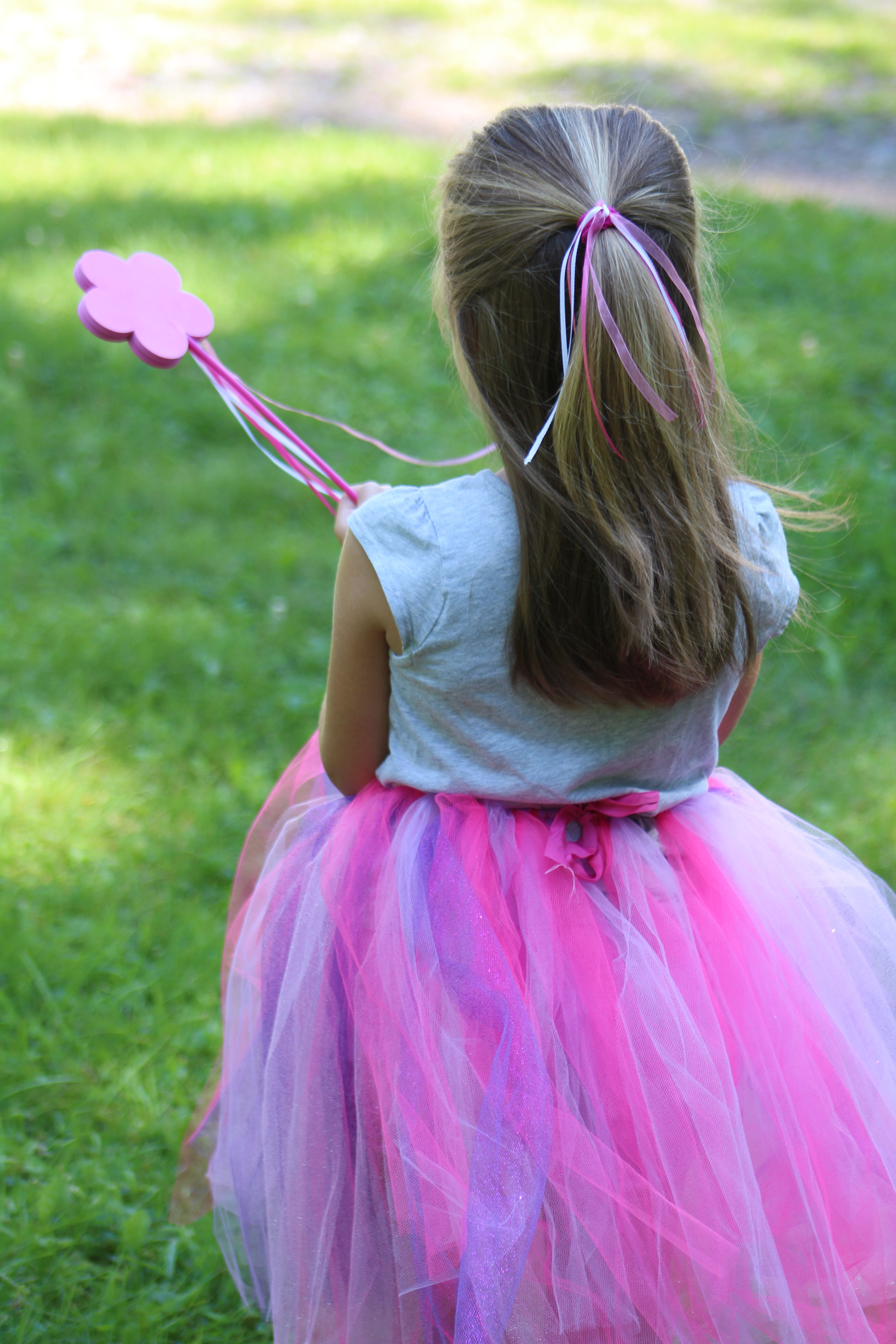 The DIY No Sew Tulle Tutu, princess wand and hair tie are perfect for your adventure seeking princess!