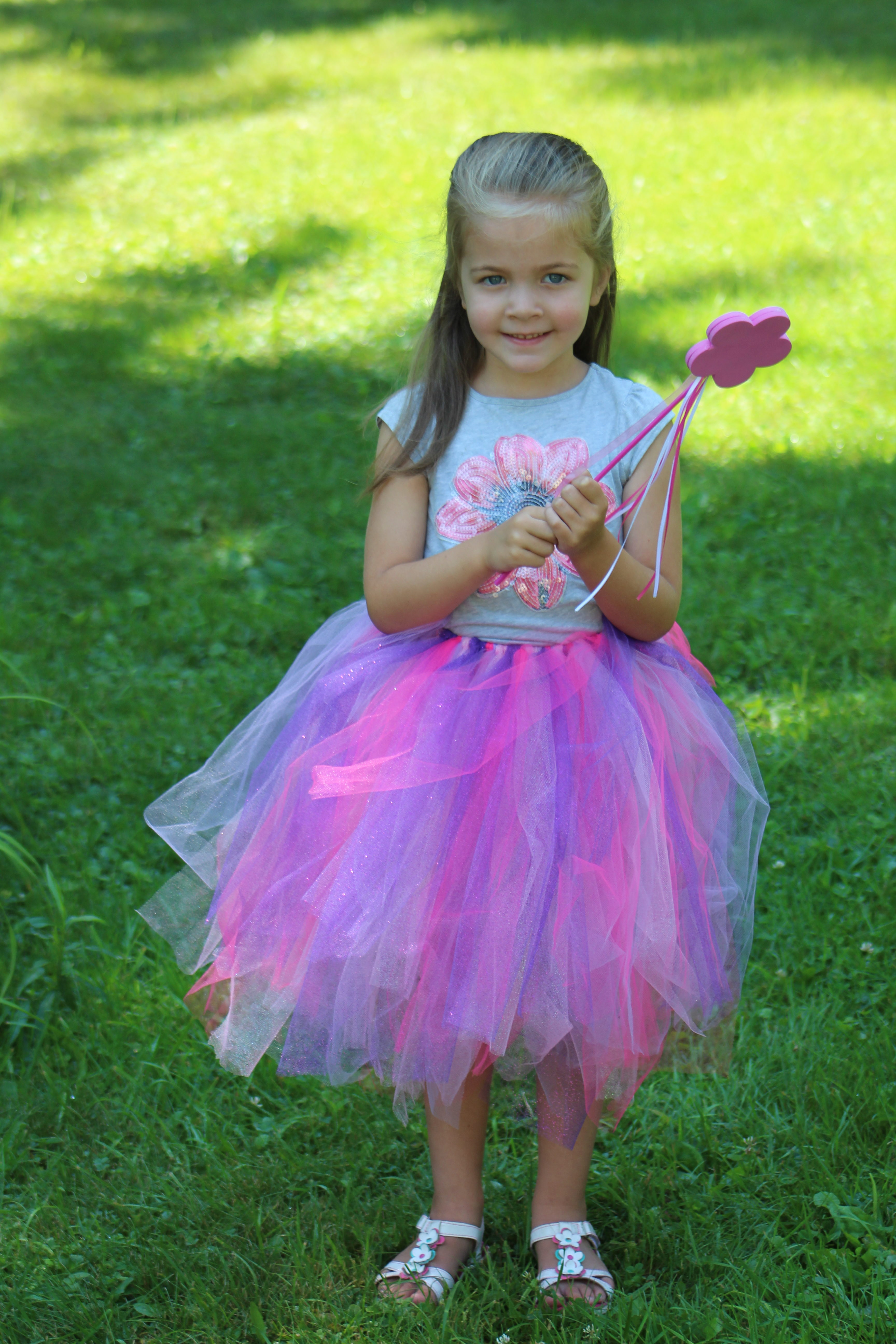 This DIY No Sew Tulle Tutu and magic wand are ready in less than 30 minutes so your princess can head off on her next adventure!