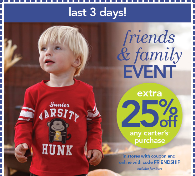 Get the best quality clothing for your child with Carters coupons and shopping is great fun when you can save. There's always cute clothing for your baby, toddler, or kid in our stores and online.