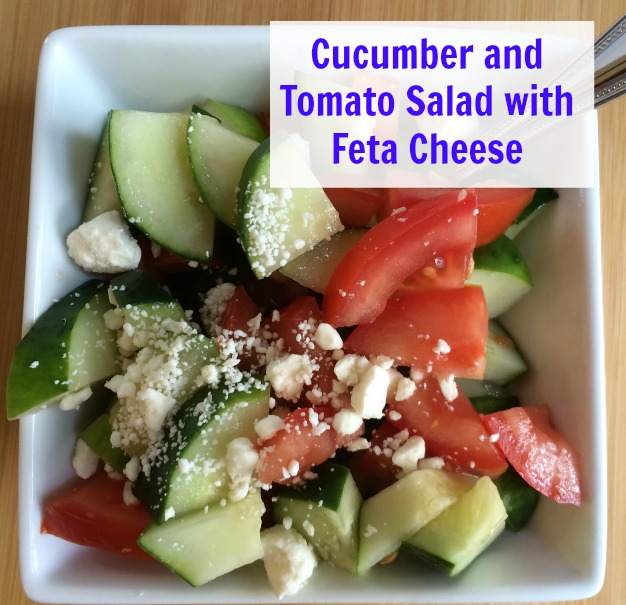 This Cucumber and Tomato Salad recipe with Feta Cheese is the perfect lunch or dinnertime side dish!