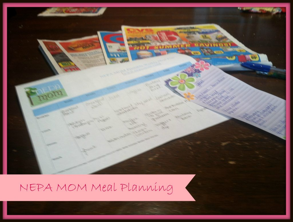 Shopping list and meal plan worksheets