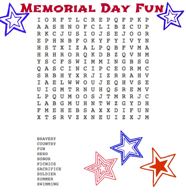 Memorial Day Word Search - NEPA Mom