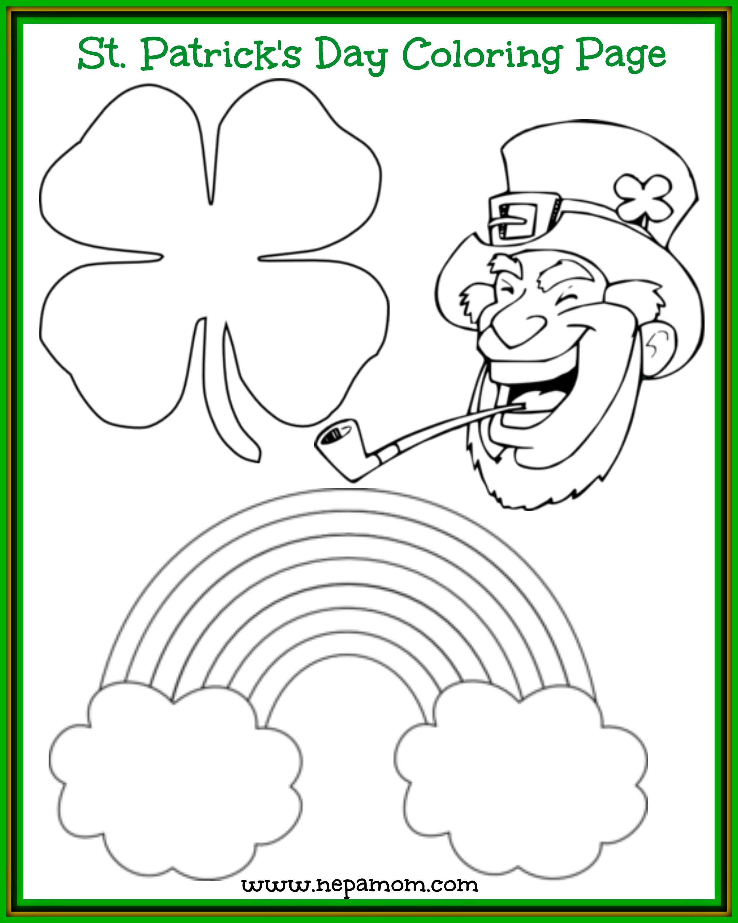 St Patrick\'s Day Coloring Page - NEPA Mom