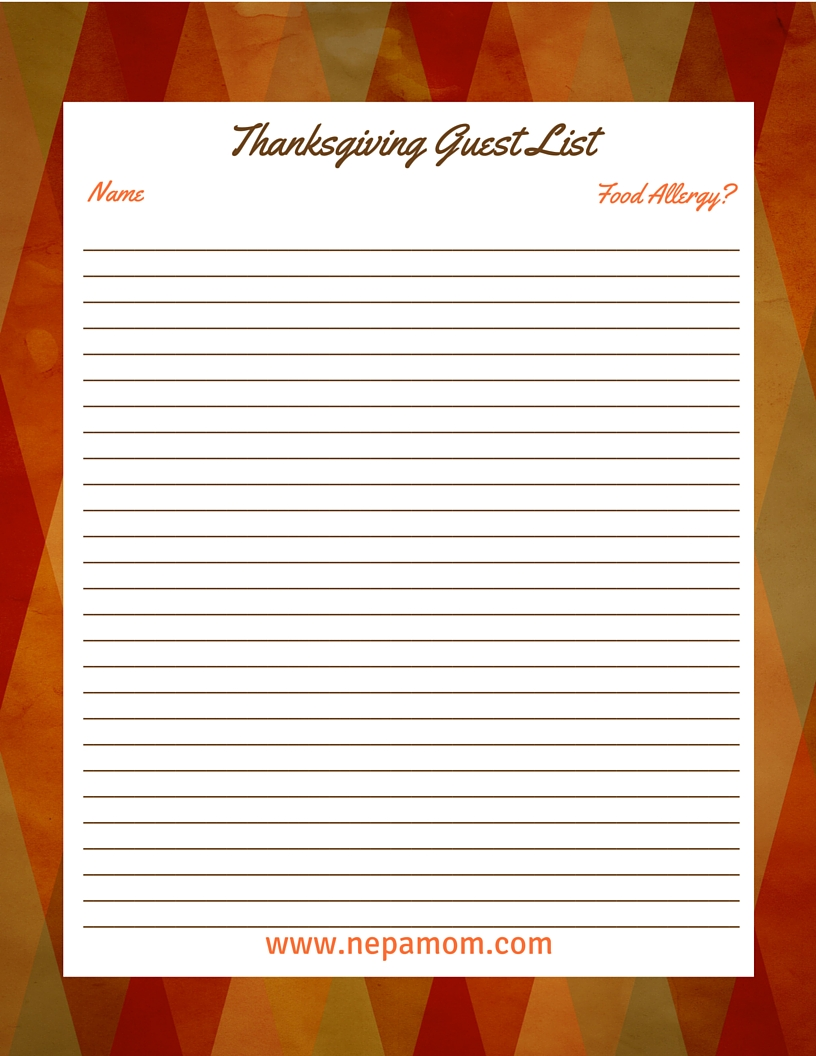 thanksgiving dinner preparation checklist for a stress