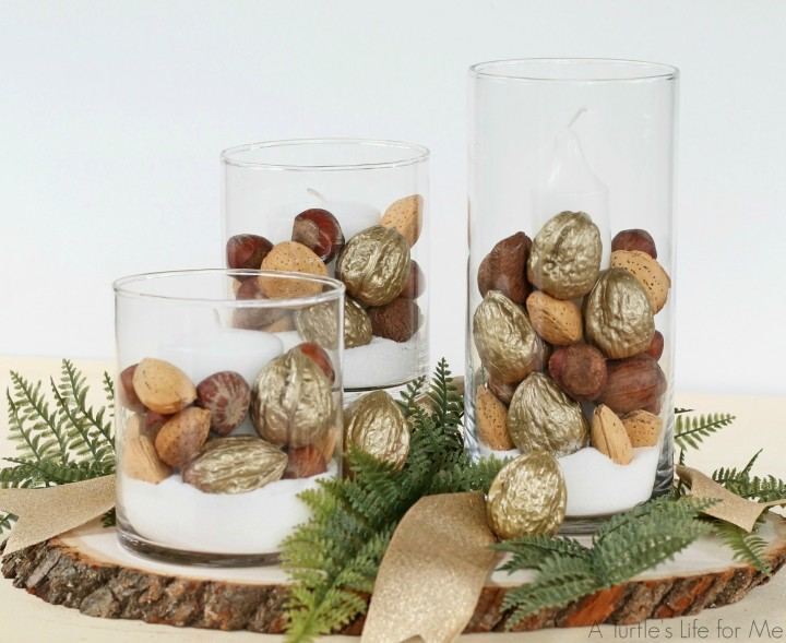 This Easy Candle Centerpiece is perfect for your holiday table!