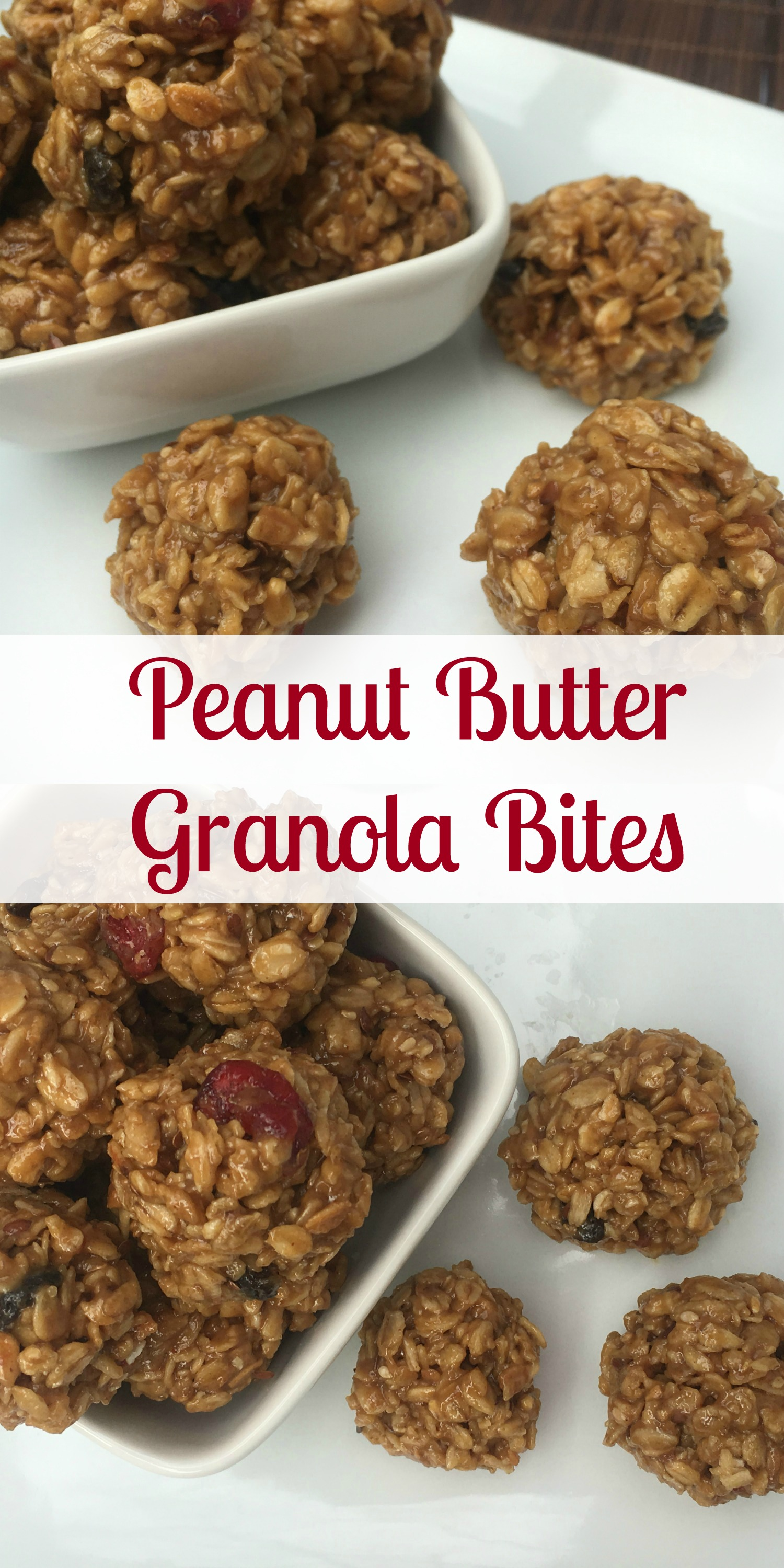 Peanut Butter Granola Bites Collage #ad