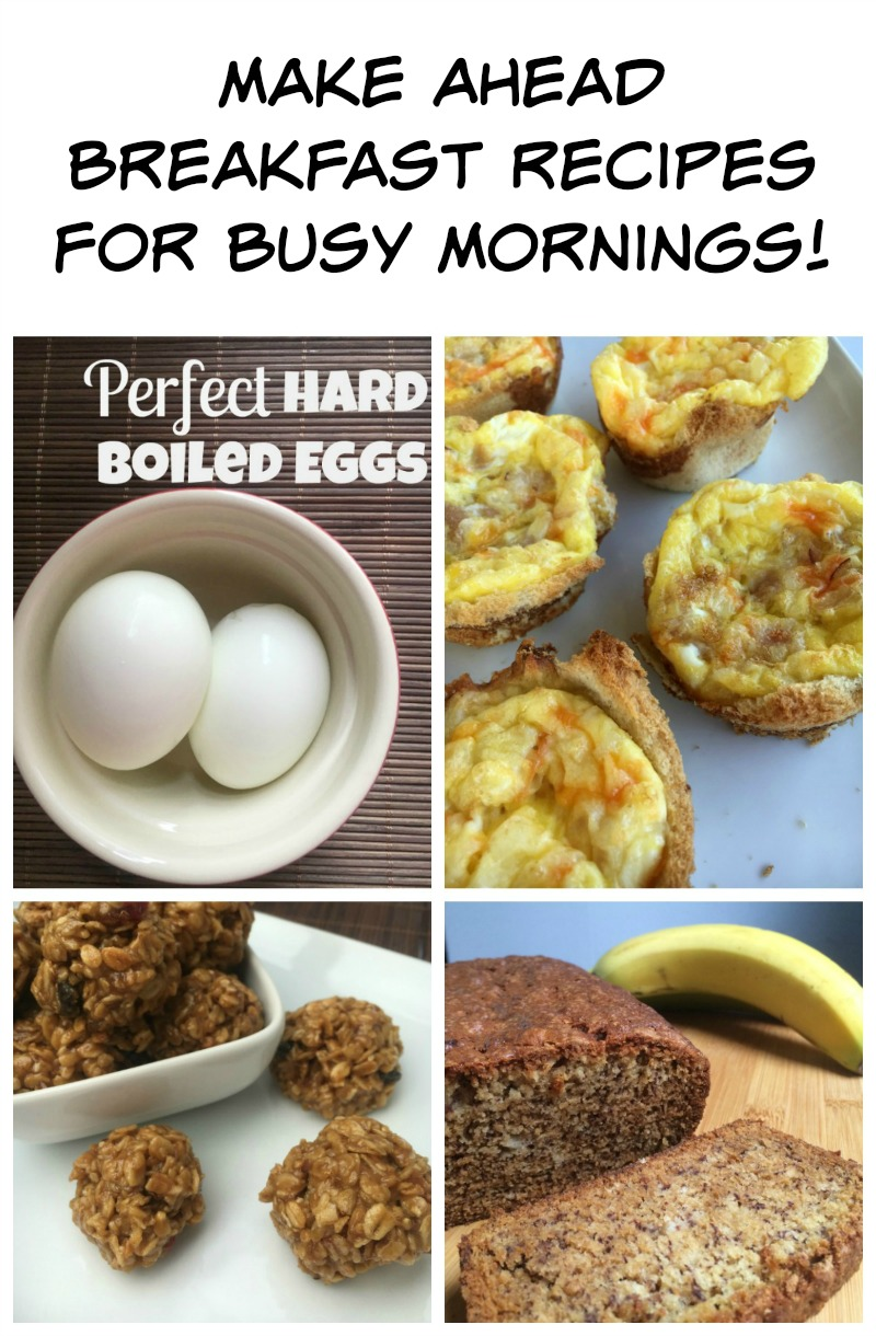 Make Ahead Breakfast Recipes for Busy Mornings--mornings don't have to be stressful! Plan ahead with these easy Make Ahead Breakfast Recipes, perfect for busy school days!