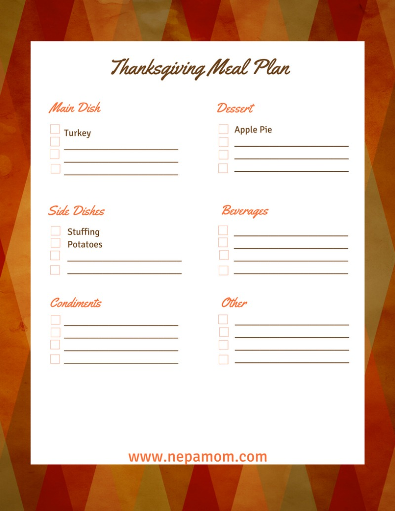 Thanksgiving Menu Checklist