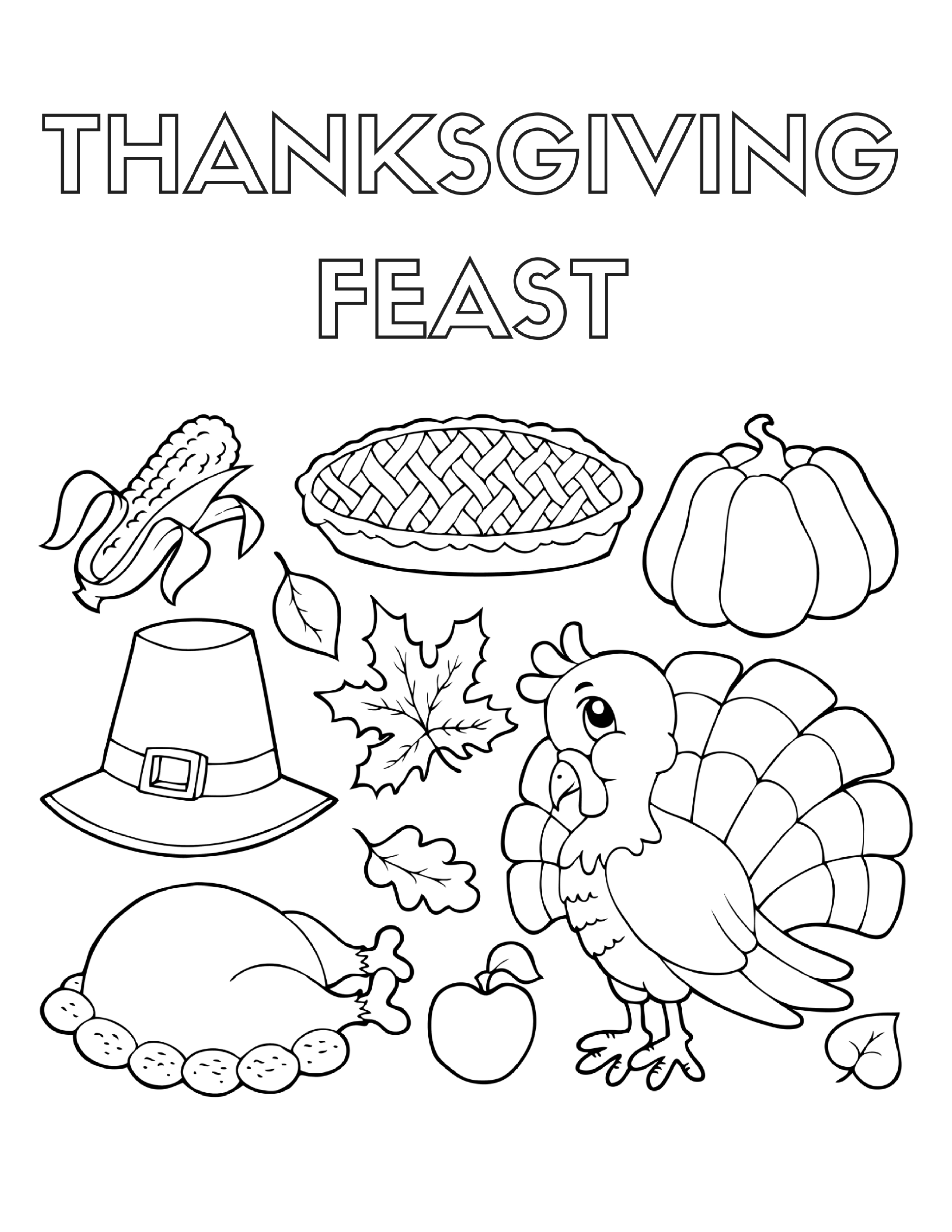 thanksgiving feast coloring pages - photo#11