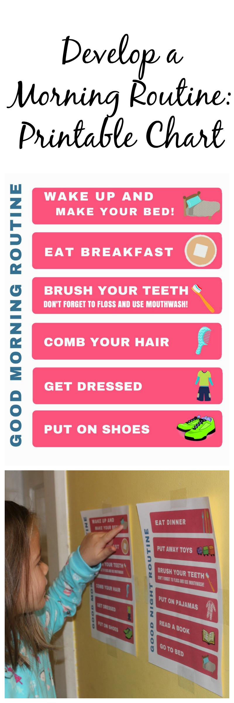 Develop a Morning Routine: Printable Chart #GoodCleanFun