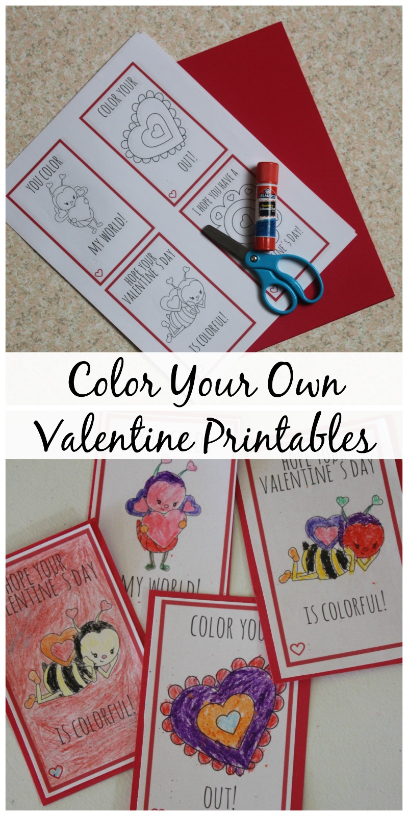 Color Your Own Valentine Printables--allow your kids to show off their creative side with these custom Valentine Printables