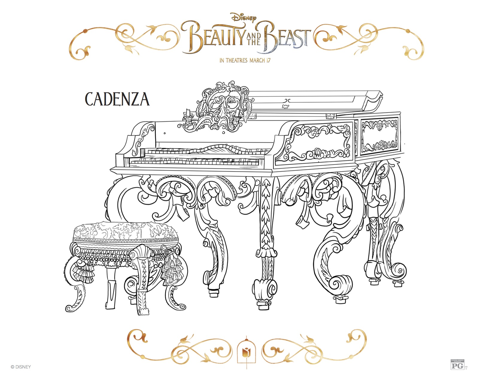Click Here To Print The Cadenza Coloring Sheet Beauty And Beast