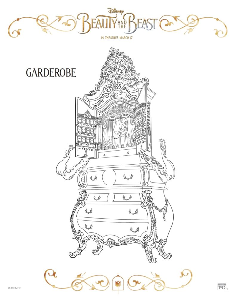 Beauty And The Beast Garderobe Coloring Sheet