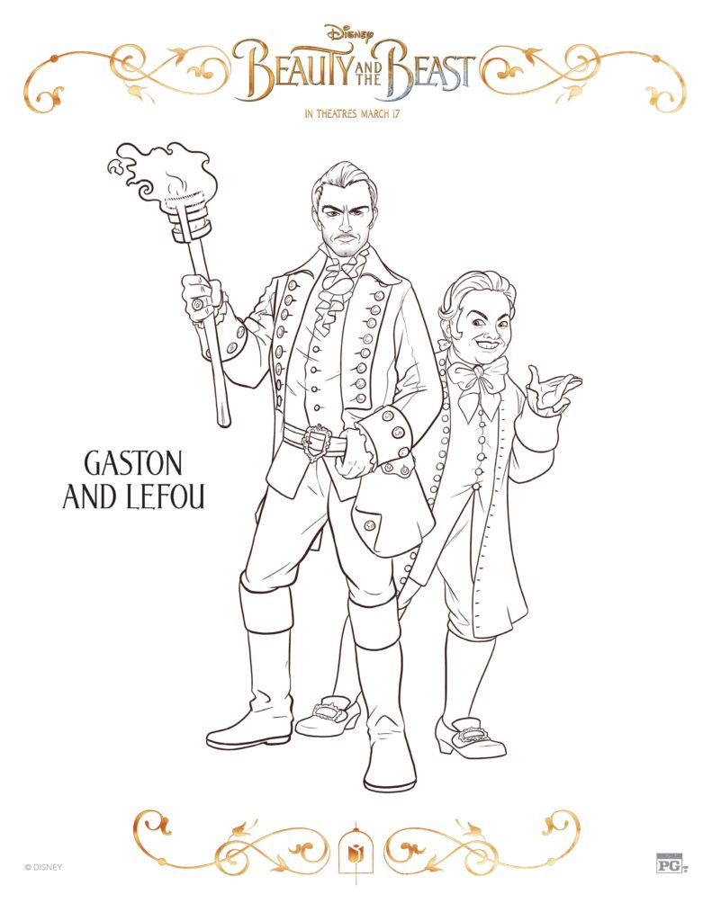 Gaston and LEFOU Coloring Sheet