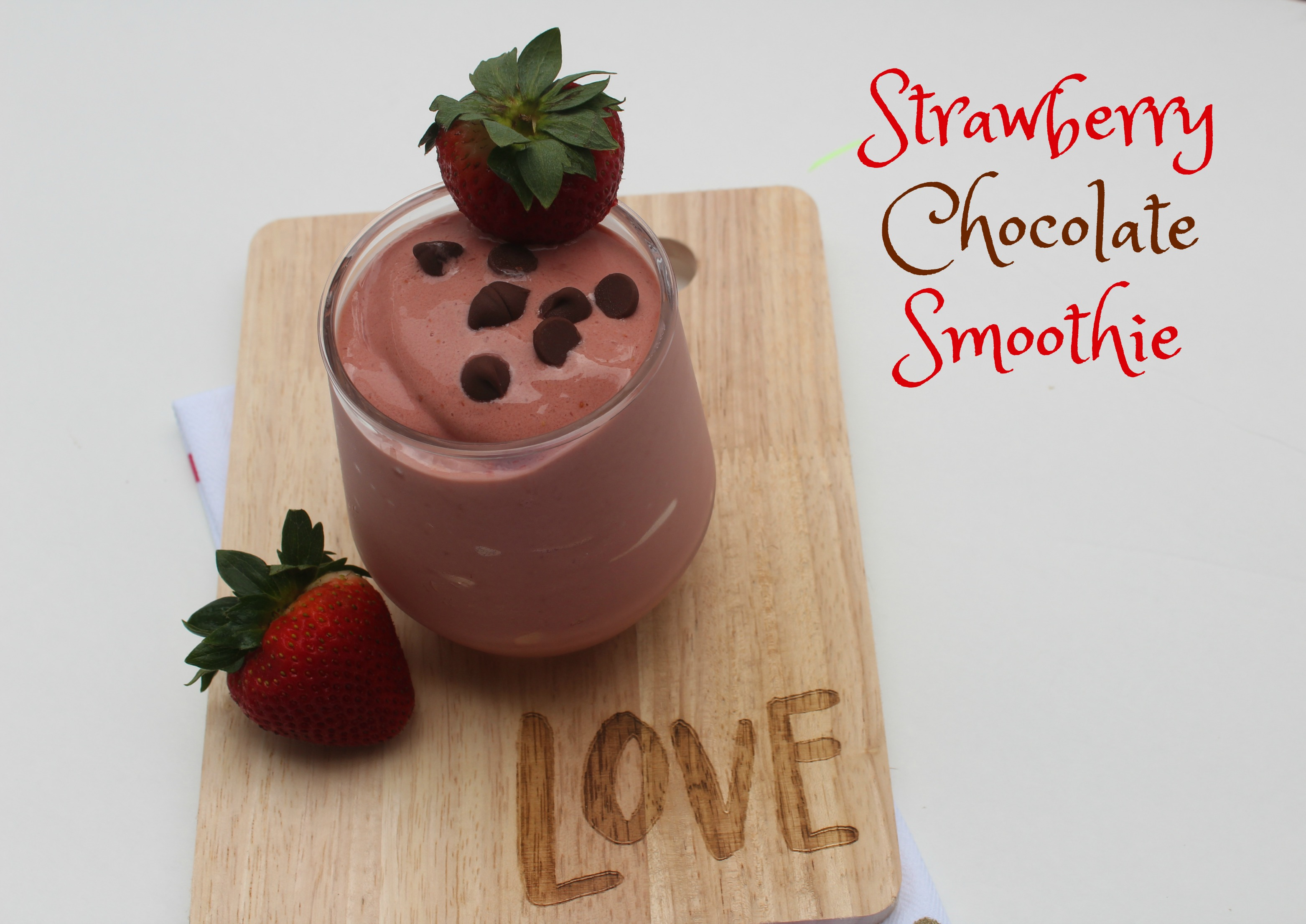 Strawberry Smoothie Recipes-- including this yummy Strawberry Chocolate Smoothie--the perfect summertime treat!