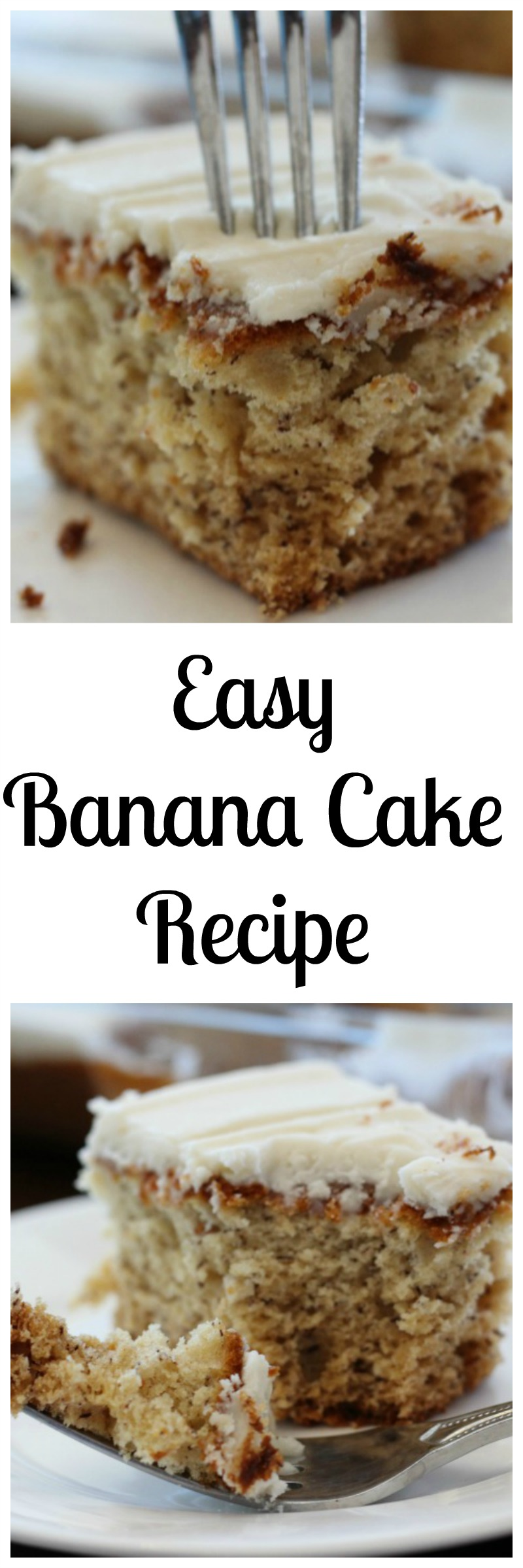 Easy Banana Cake Recipe--this moist and easy cake is perfect for all your get togethers!