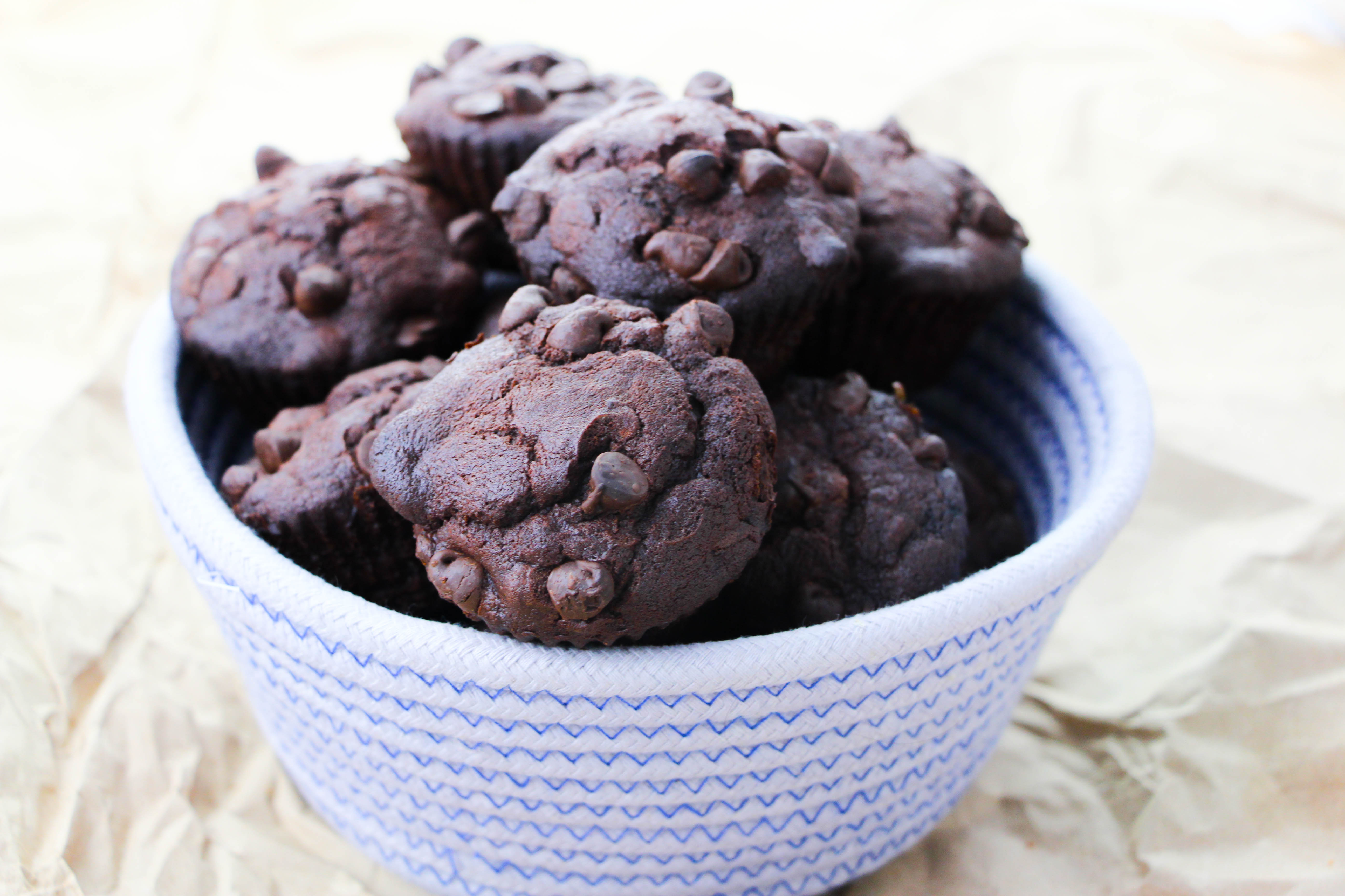 double chocolate banana muffins on table