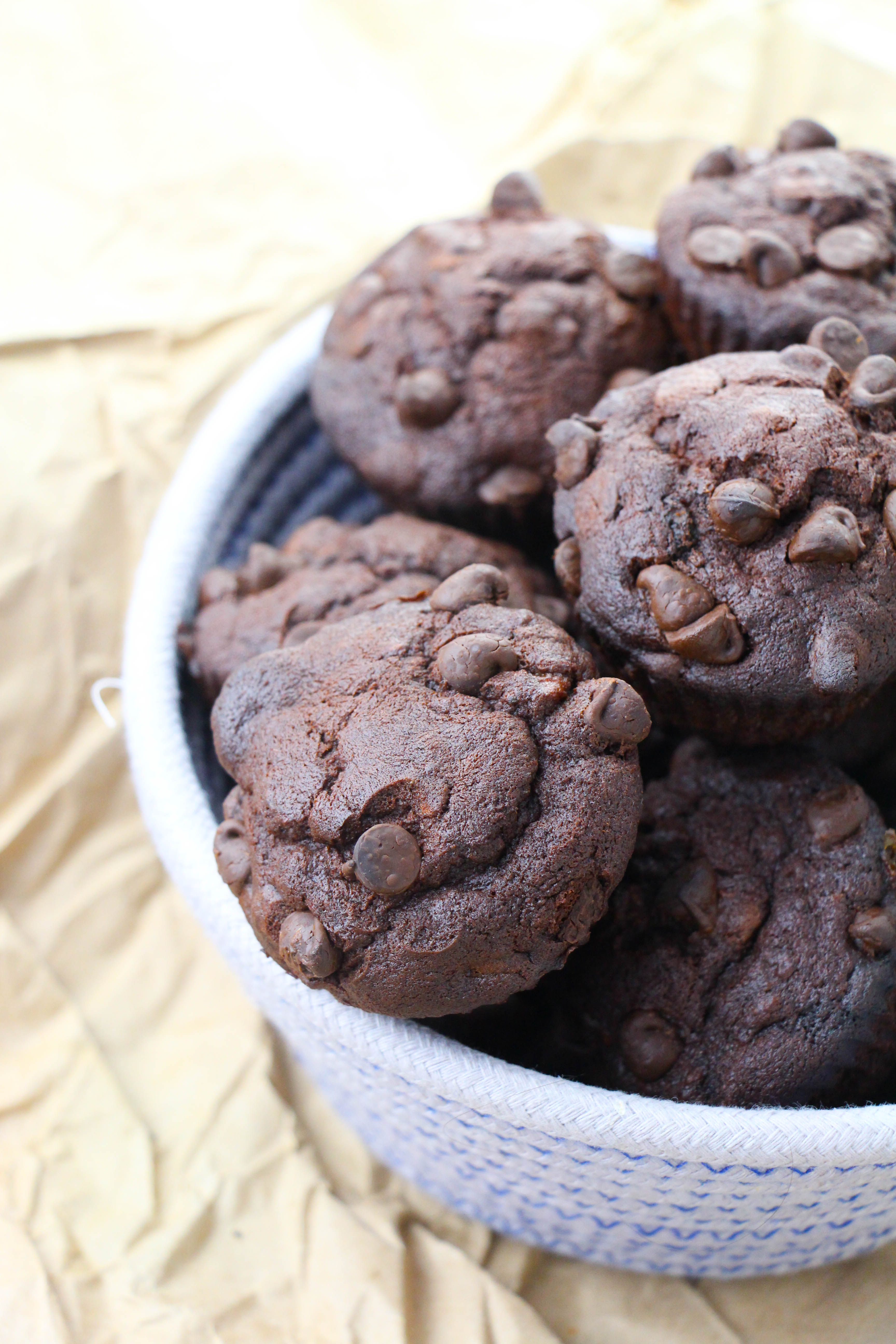 Baked Double Chocolate Banana Muffins in a white bowl on table