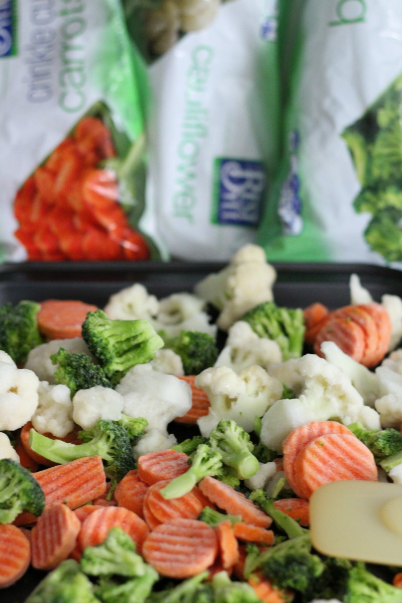 Frozen Best Yet vegetables on a sheet pan ready for the oven